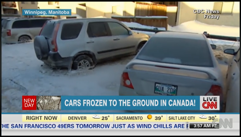 Cars Frozen to the Ground