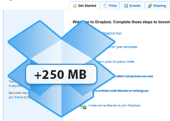 "Click the ""Getting Started"" Tab on Dropbox Web for a Free 250 MB Upgrade"