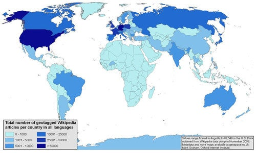 Which Places In the World Does Wikipedia Discuss Most?