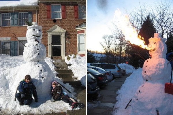 Frosty the Fire-Breathing Snowman Caught on Video