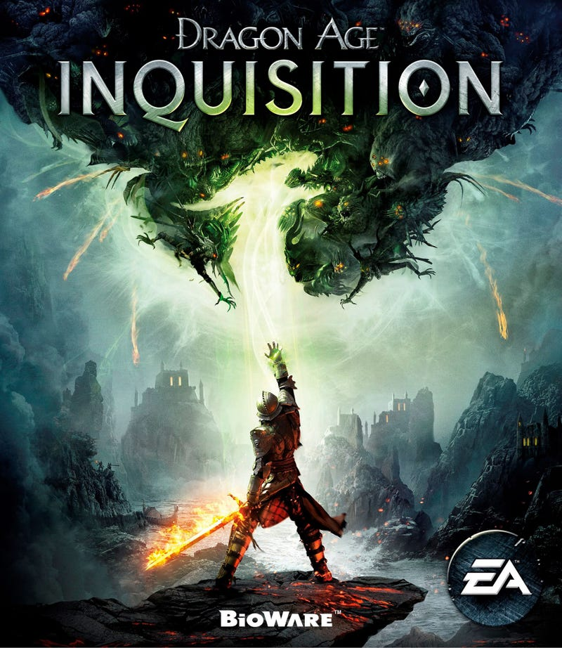 Dragon Age Inquistion's cover adds green to the orange/blue poster trope