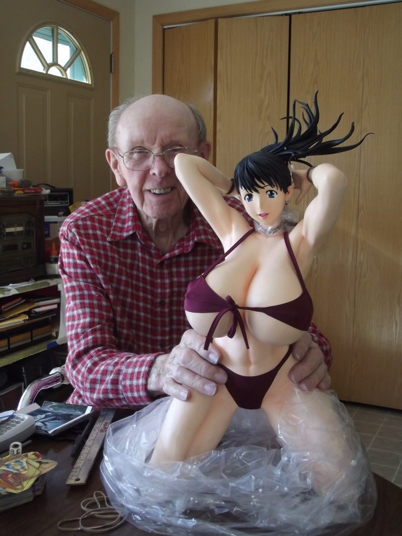Grandpa Really Wanted To Hold This Statue with Ridiculous Breasts