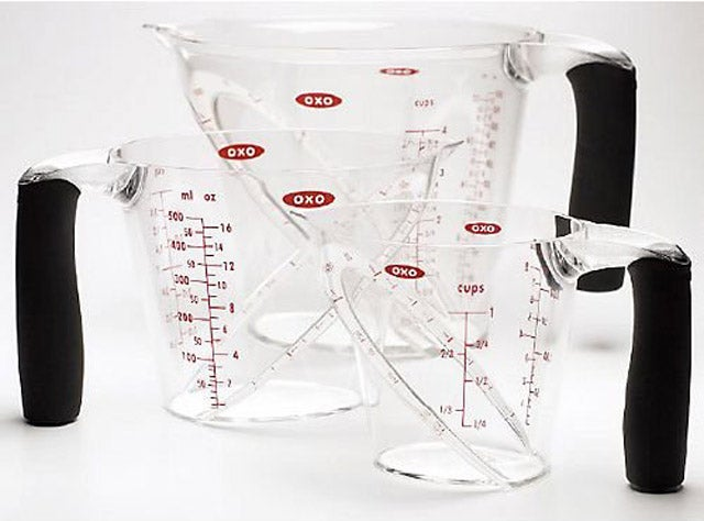 Angled Measuring Cups, So You Don't Have to Stop and Measure