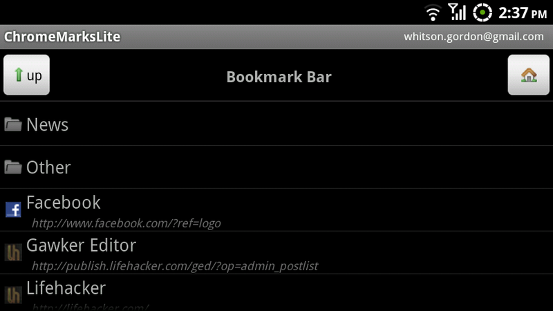 ChromeMarks Syncs Chrome Bookmarks with Android