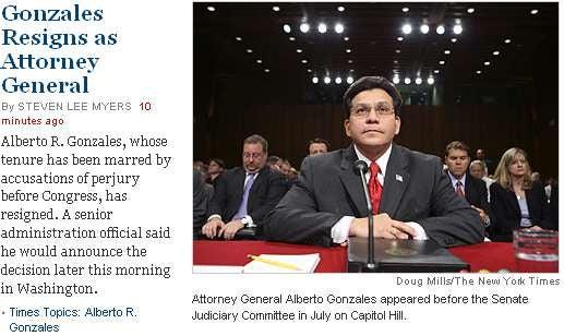 Attorney General Gonzales Resigns