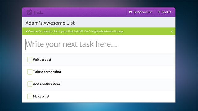 Flask Creates Shareable To-Do Lists on the Fly, No Account Required