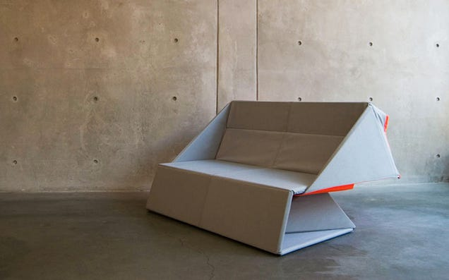 This Brilliant Origami Couch Unfolds Into a Flat Rug