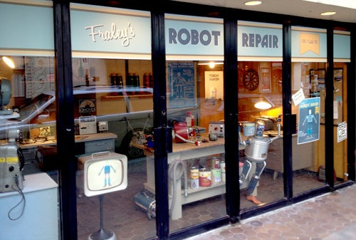 Step inside the robot repair shop of the retrofuture