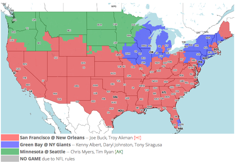 Which TV Market's Getting Screwed Today? Your Week 11 NFL Viewing Maps
