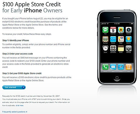 No iTunes Gift Cards For Your $100 'Early iPhone Owners' Store Credit