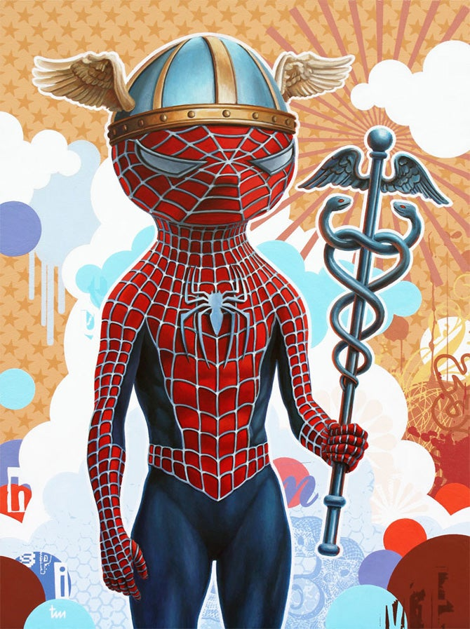Pop paintings recast modern superheroes as Greek gods