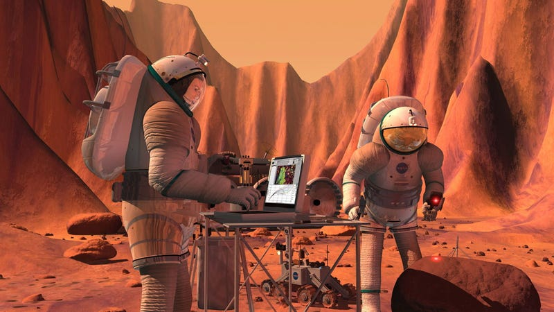 How will space colonists access the Internet on Mars?