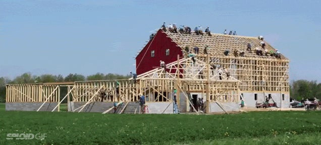 Watch the Amish build an entire barn in less than 10 hours