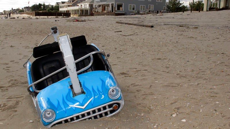 This car washed up eight miles away from its kiddie ride at Seaside Heights
