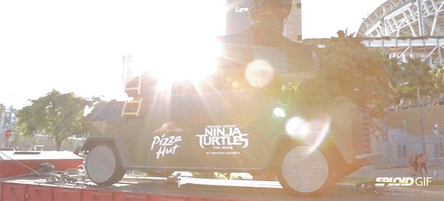 The pizza tank in action firing 14-inch pies