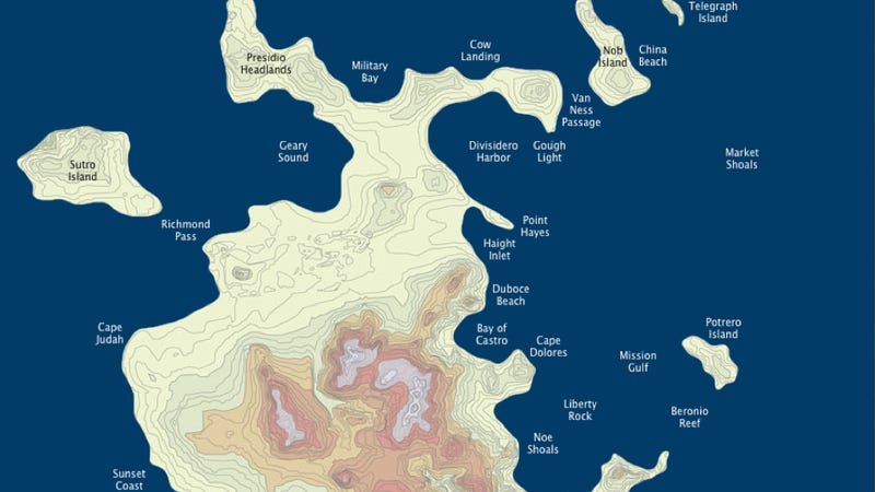 A science fictional map of San Francisco as an archipelago city