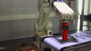 Simple robot arm is hilariously efficient at packing up bolts in a box