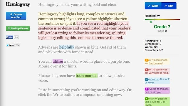 Hemingway Highlights Common Errors to Help You Edit Text