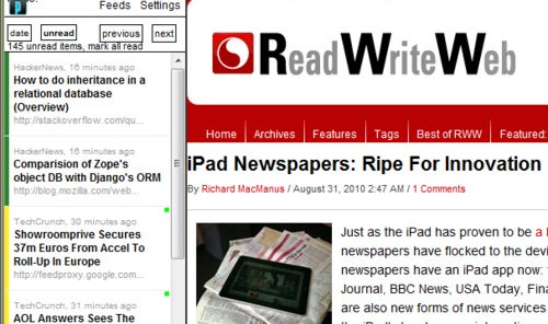 Prldr Shows Full Web Pages from RSS Feeds