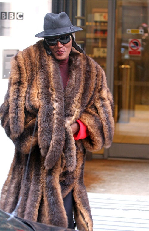 Grace Jones Lets The (Hopefully Faux) Fur Fly