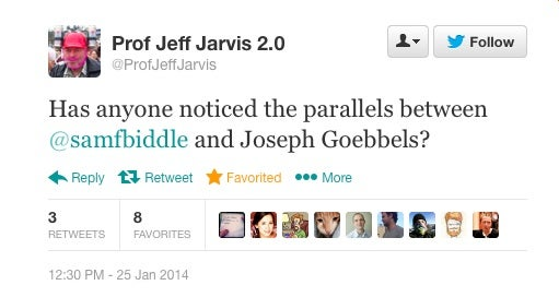 This account parodies Jeff Jarvis, but this is funny