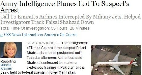 Why Did CBS Scrub A Story About Army Spy Planes Capturing the Times Square Bomber? (Updated)