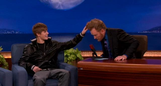 Justin Bieber Has Hair-Envy Over Conan's Signature Coif