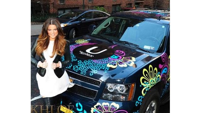 Khloe Kardashian Takes a Ride in the Kotex Mobile