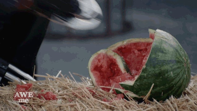 Guy Forges The Blade From Blade, Annihilates Watermelon With It