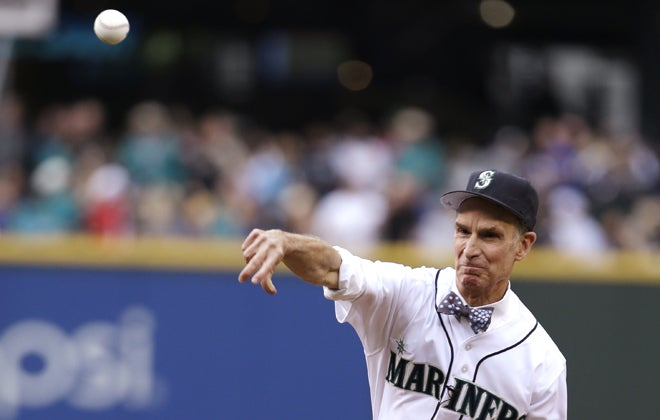 Bill Nye throwing the first pitch at Saturday's Mariners/Angels game