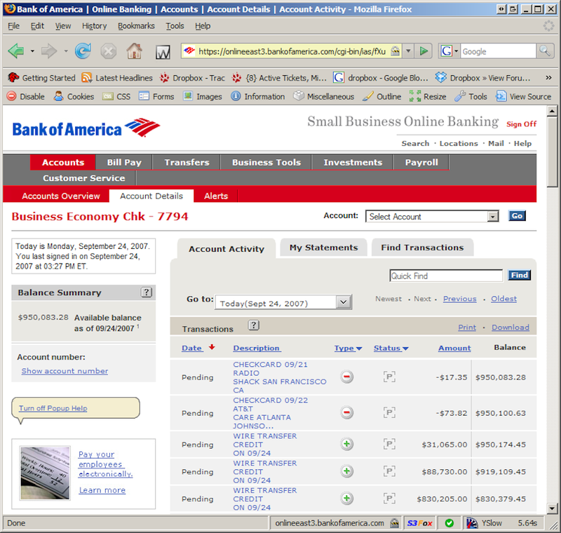 Online Banking Screenshot Online Banking Screenshot