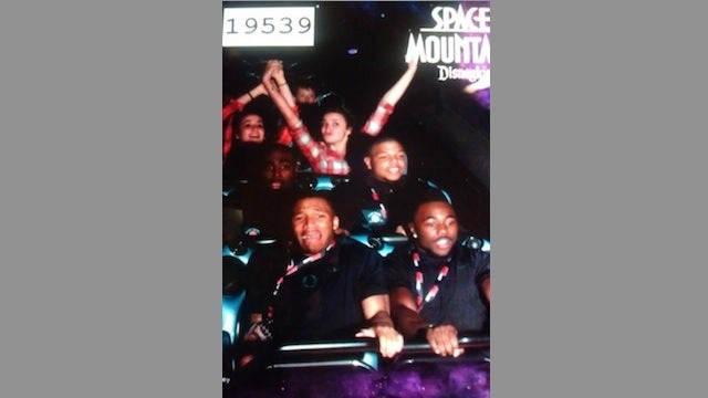 LaMichael James Rides Space Mountain Roller Coaster, Looks Completely Terrified