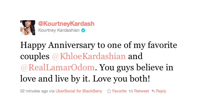 Khloe And Lamar's Anniversary Celebrated Exclusively On Twitter