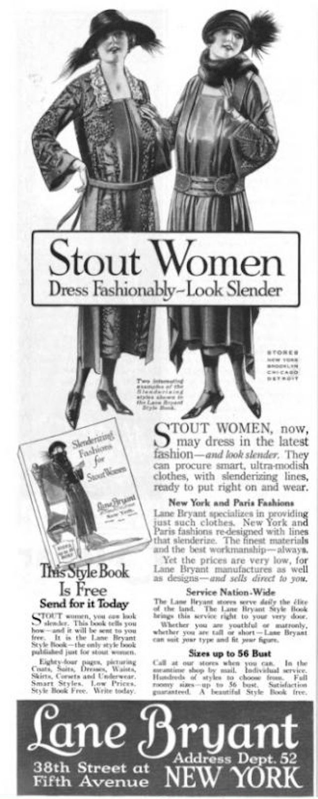 1922 Ad Touts Lane Bryant's Offerings for 'Stout Women'