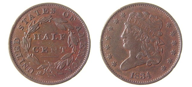 The U.S. killed the half-penny when it was worth what a dime is today