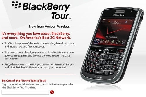 Verizon's BlackBerry Tour Site Is Now Live, Launch Presumably Imminent
