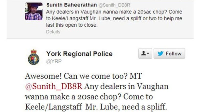 """Awesome"" Police Response to Twitter Plea for Pot Gets Mechanic Fired"