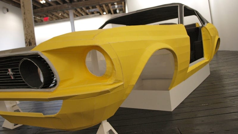 This is the Ford Mustang made out of paper