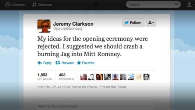 Jeremy Clarkson Wants To Crash A 'Burning Jag Into Mitt Romney'