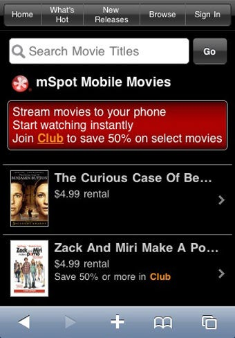 mSpot Streams Movies to iPhones, Blackberries and Palm Pres