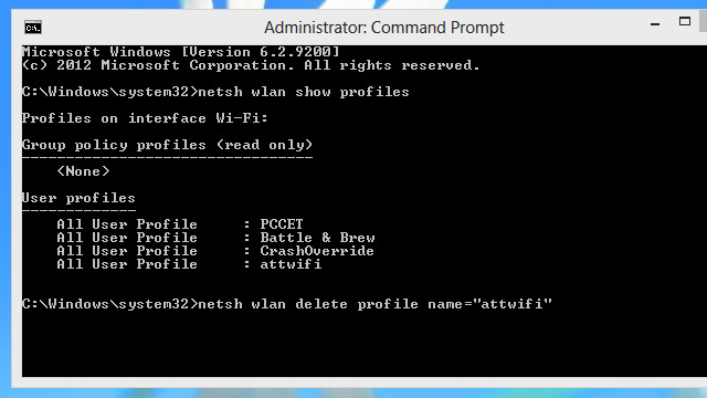 Remove Wi-Fi Profiles from Windows 8.1 with the Command Prompt