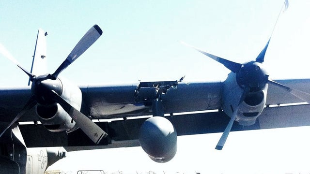 Here's What It Looks Like When a Drone Crashes into a C-130