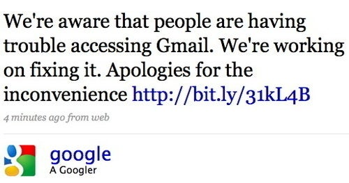 Gmail Fail: Google is 'Working on Fixing It'