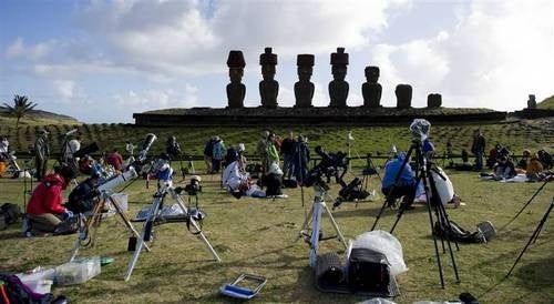 A total solar eclipse over Easter Island