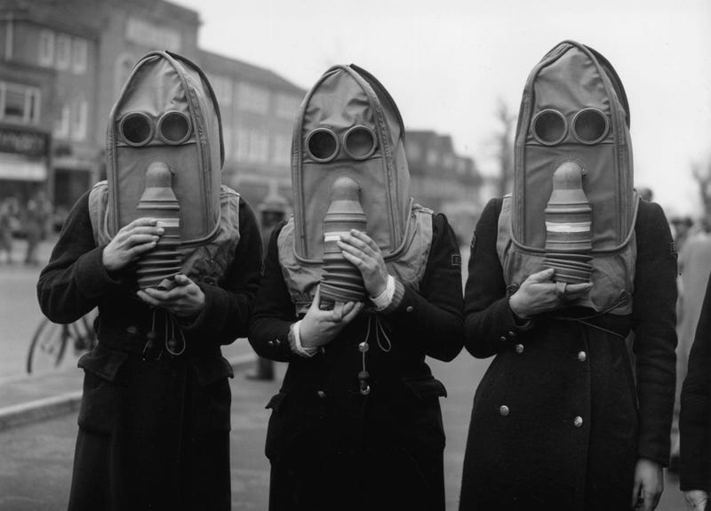 Gas Masks for the Elderly, ca. 1941