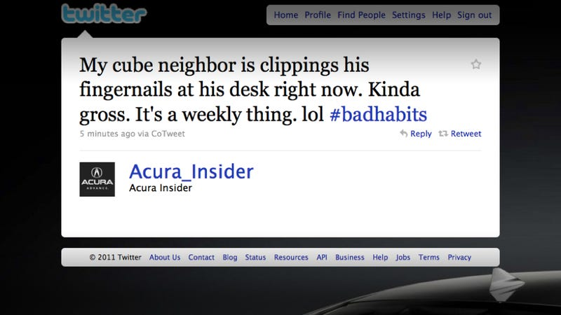 Official Acura tweeter stands by accusation that coworker is gross
