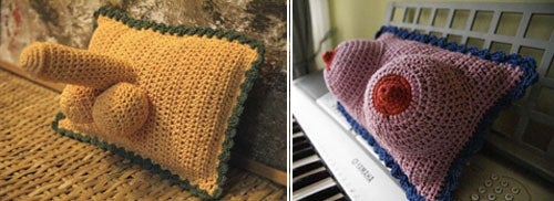 Crocheted Penis And Breast Pillows Offer That Homemade Touch