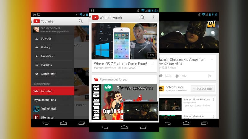 YouTube for Android Gets a New Look and a Multitasking Video Player
