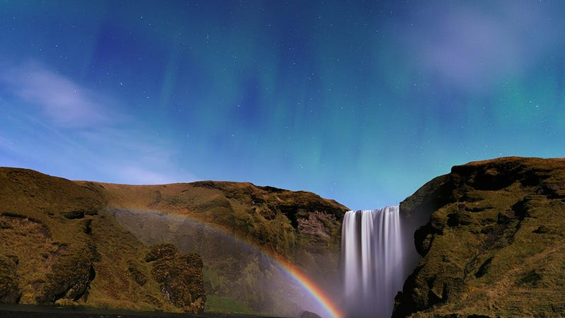 Elves Must Live In the Waterfall Where the Aurora and the Moonbow Meet