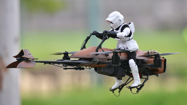 A Star Wars Speeder Bike Quadcopter Looks Perfect Racing Through Forests